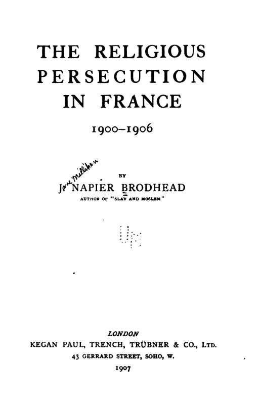 [Title Page] from Religious Persecution in France by Jane Brodhead