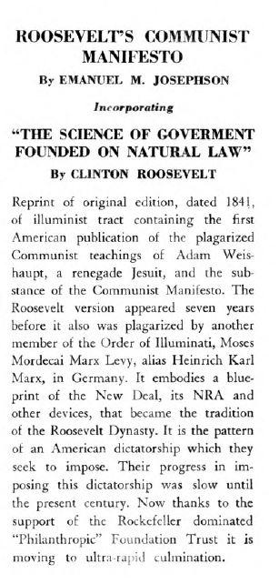 [Book Cover] from Roosevelt's Communist Manifesto by Emanuel Josephson