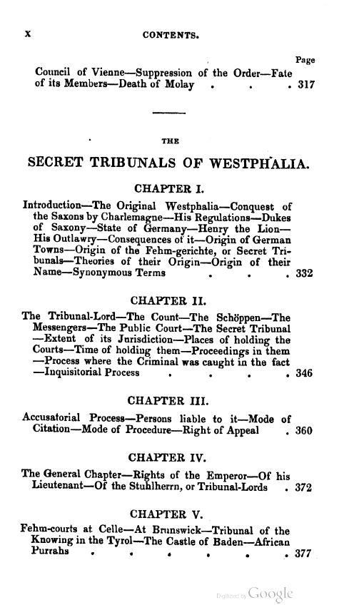 [Contents 6 of 7] from Secret Societies of the Middle Ages by Thomas Keightly
