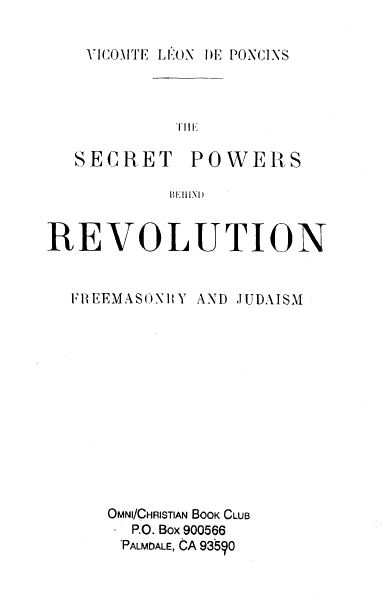 [Title Page] from Freemasonry and Judaism by Leon de Poncins