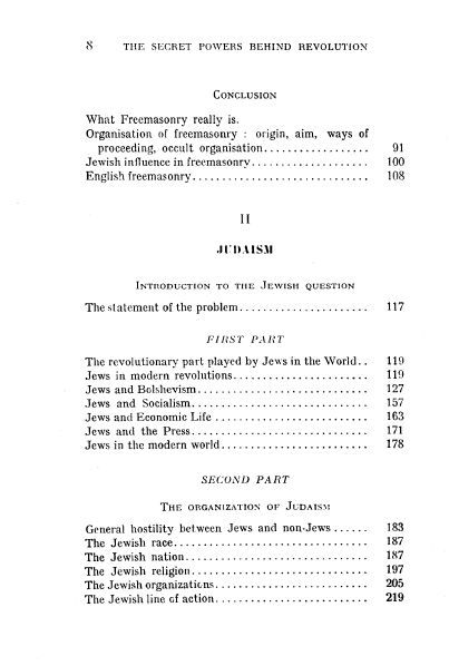 [Contents, page 2 of 3] from Freemasonry and Judaism by Leon de Poncins