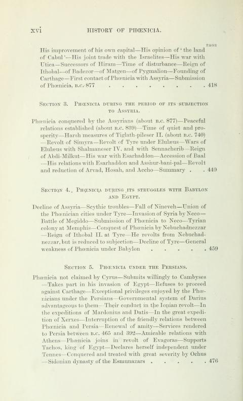 [Contents, Page 6 of 7] from History of Phoenicia by George Rawlinson