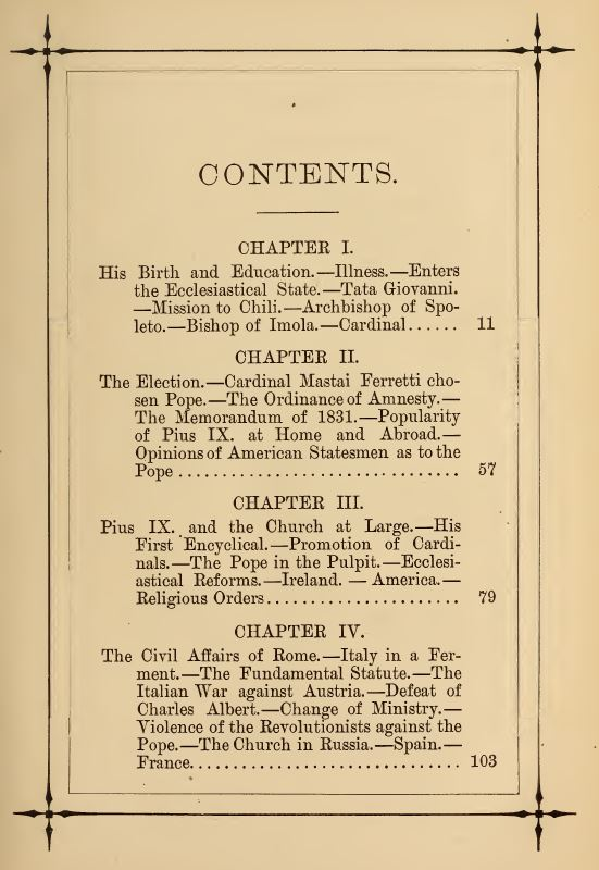 [Contents, Page 1 of 4] from Life of Pope Pius IX by J. G. Shea