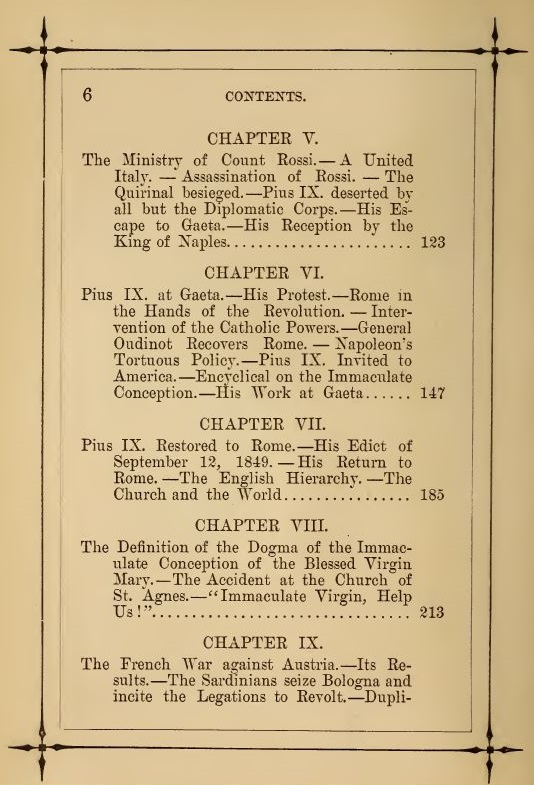 [Contents, Page 2 of 4] from Life of Pope Pius IX by J. G. Shea