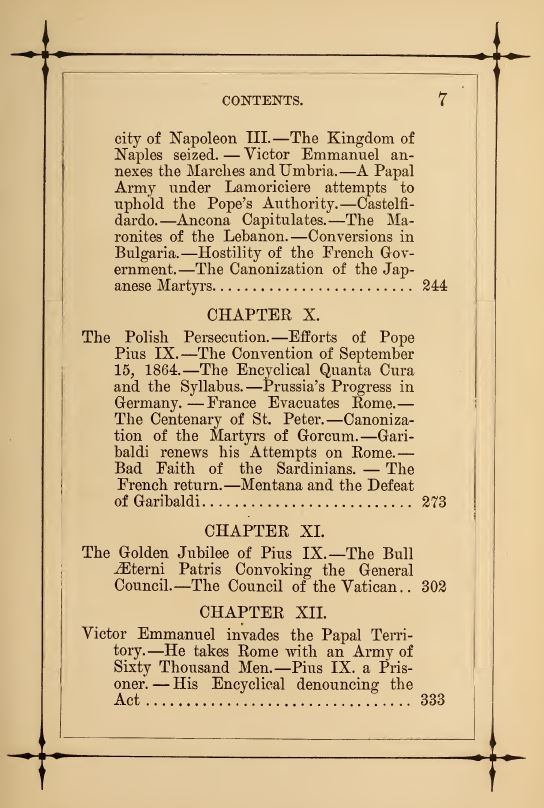 [Contents, Page 3 of 4] from Life of Pope Pius IX by J. G. Shea