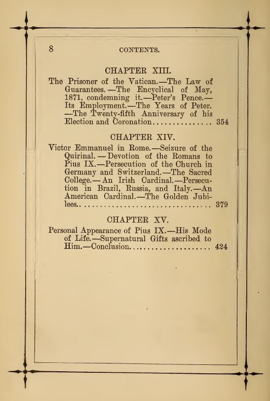 [Contents, Page 4 of 4] from Life of Pope Pius IX by J. G. Shea