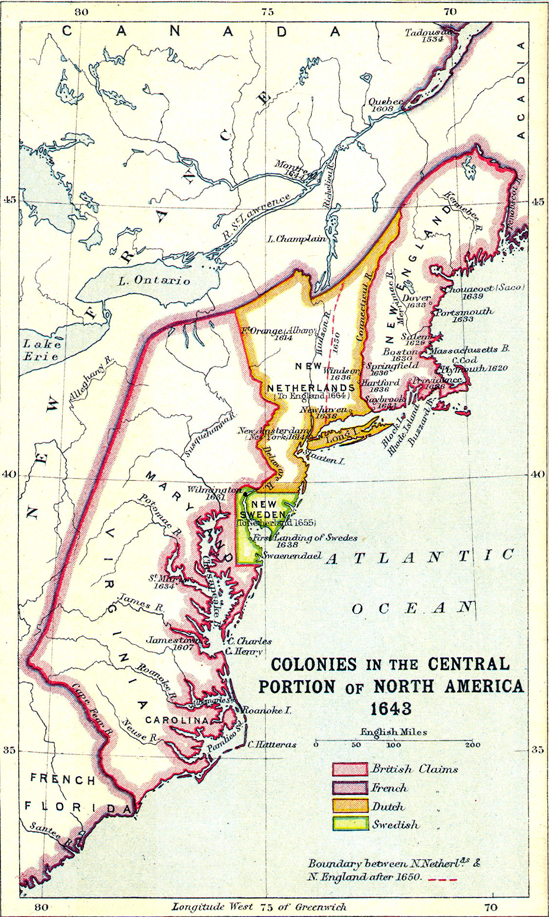 Colonial North America Map