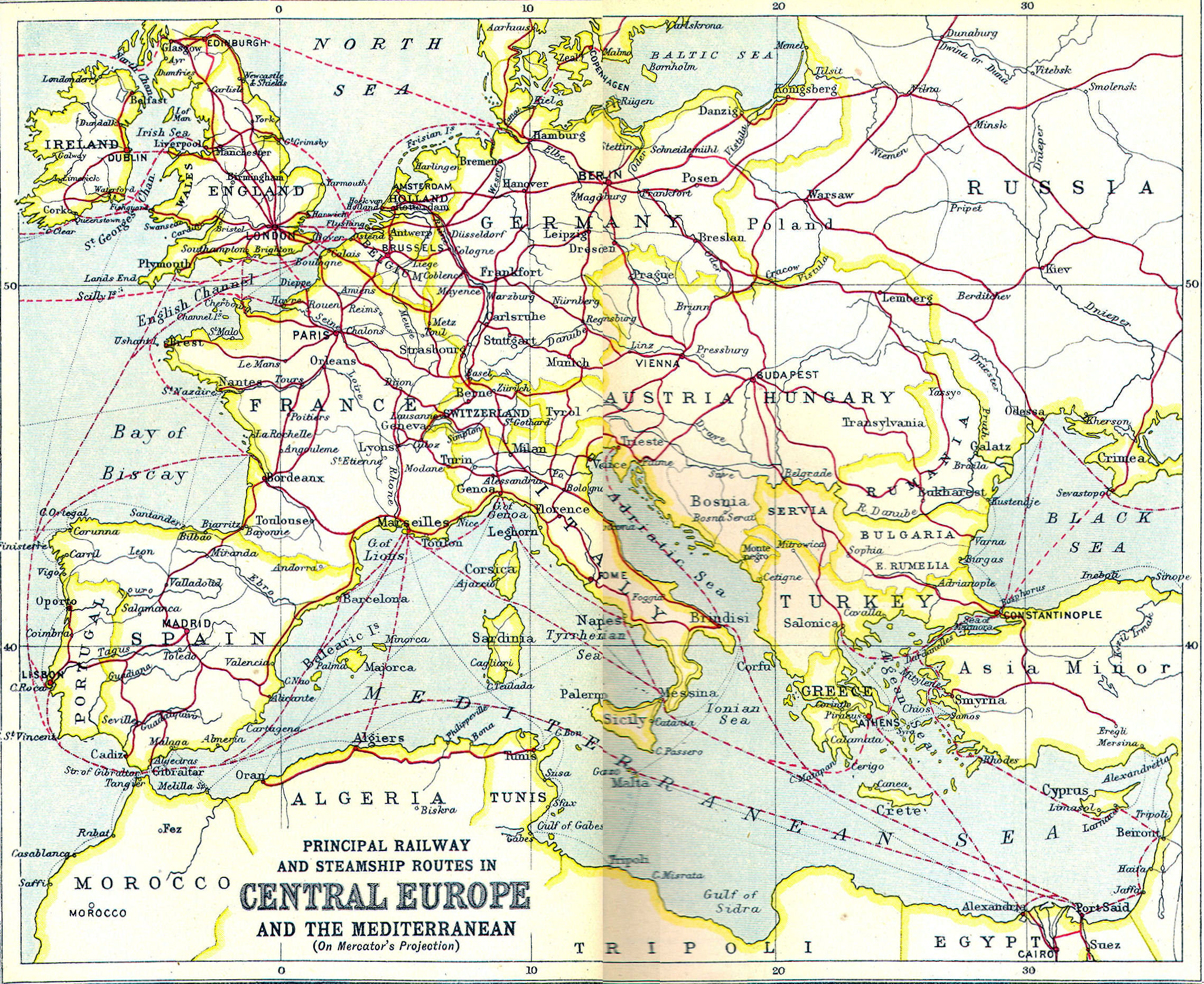 ROMSIG Rail Routes Out Of Romania - Railroad map us 1880