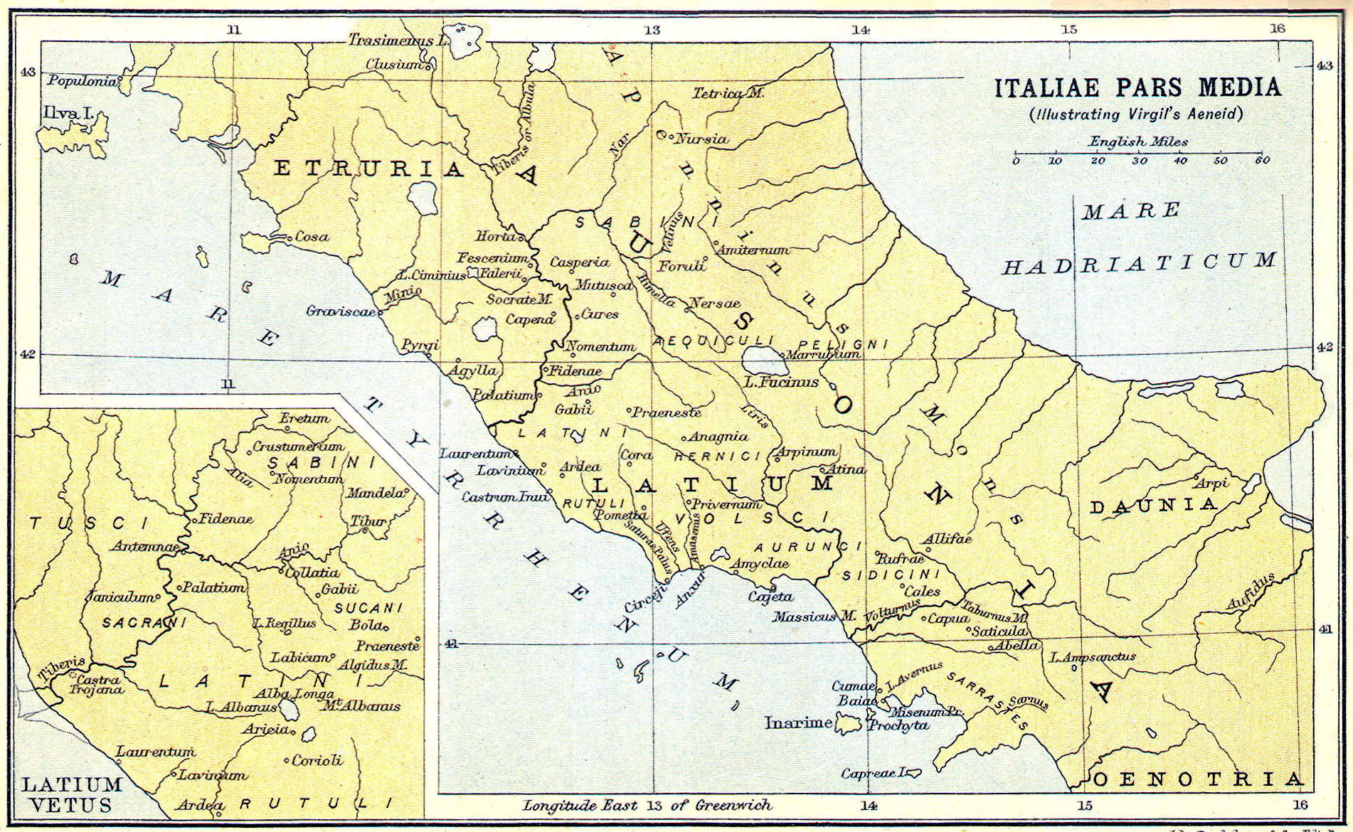 Map Of Ancient Italy Regions.Heritage History Products