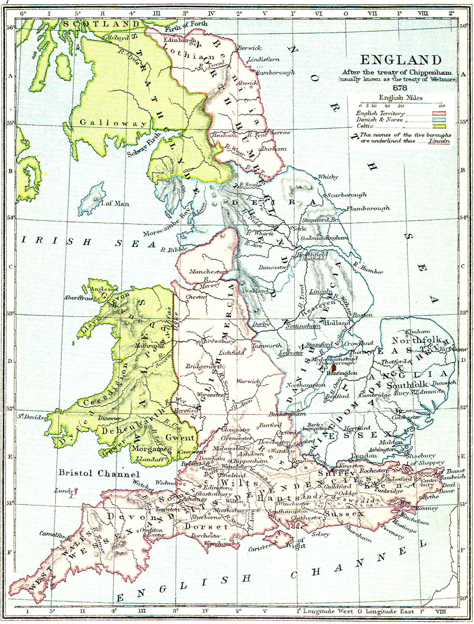 Map Of England In 9th Century.British Middle Ages Classical Curriculum Heritage History Revision 2